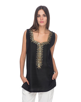 SCT084 - Hand Embroidered Short Silk Tunic
