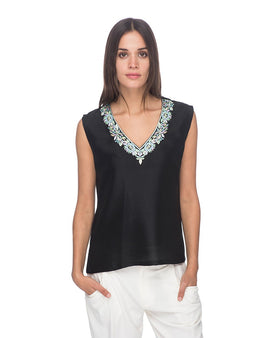 SCT085 - Hand Embroidered Silk Blouse
