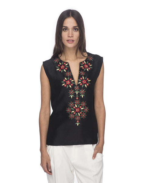 SCT089 - Hand Embroidered Silk Blouse