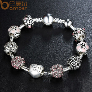 Silver Charm Bracelet with Love and Flower Crystal Ball