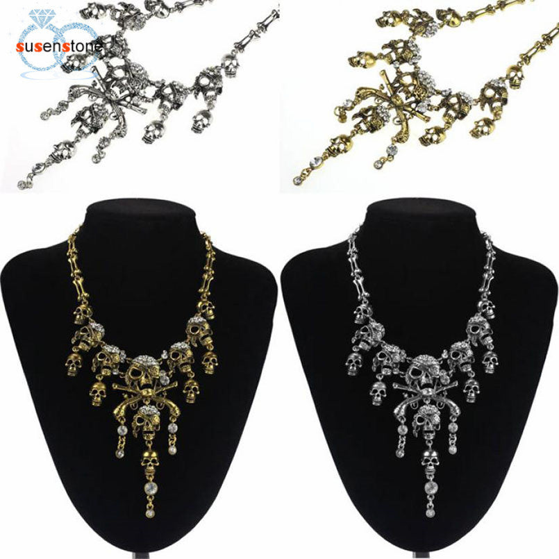 Pirate Skull Cluster Rhinestone Chain Necklace