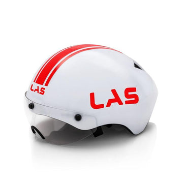 LAS TT Crono Helmet - White/Red - SpinWarriors