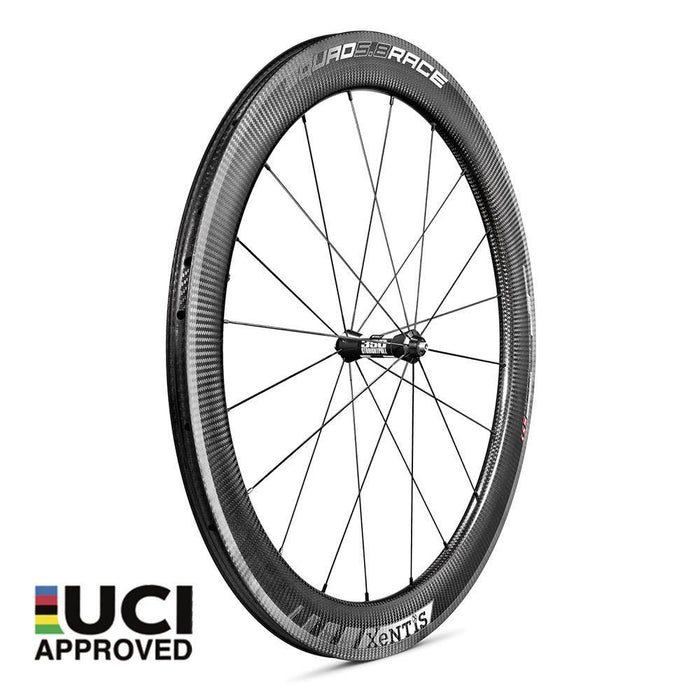 Xentis Squad 5.8 Race Tubeless Ready Carbon Clincher Wheelset - White Decal