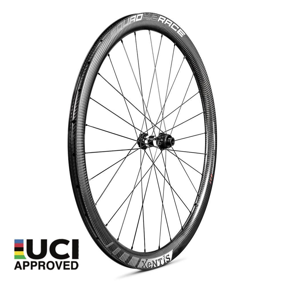 Xentis Squad 4.2 Race Tubeless Ready Carbon Clincher Disc Brake Wheelset - White Decal