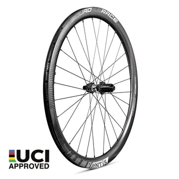 Xentis Squad 4.2 Race Tubeless Ready Carbon Clincher Disc Brake Wheelset - White Decal - SpinWarriors