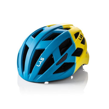 LAS Enigma Helmet - Matt Petrol Blue/Yellow - SpinWarriors