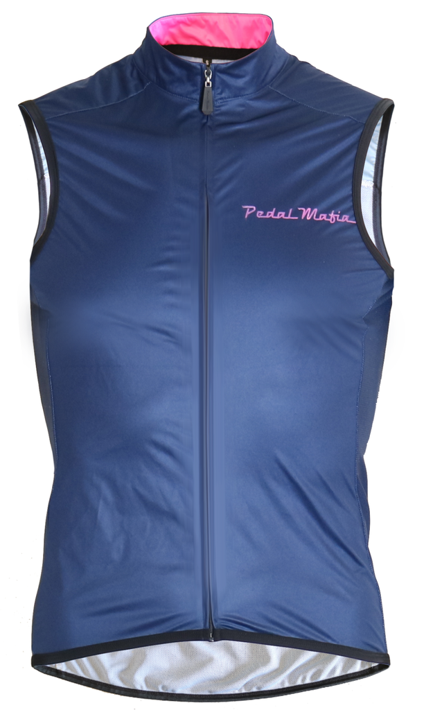 Pedal Mafia Gilet - Navy with Pink Logo
