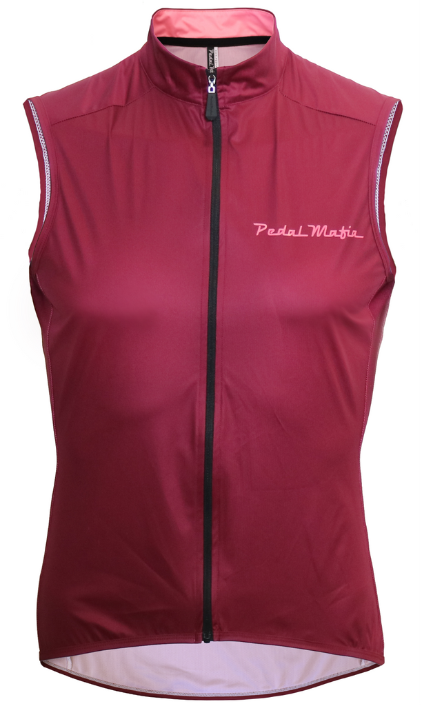 Pedal Mafia Gilet - Plum with Peach Logo