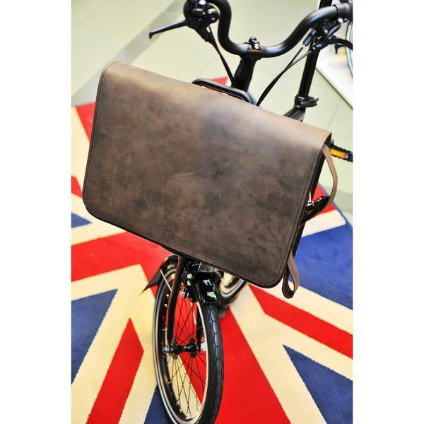 Souma Brompton Front Carrier Leather Messenger/Laptop Bag - Dark Brown