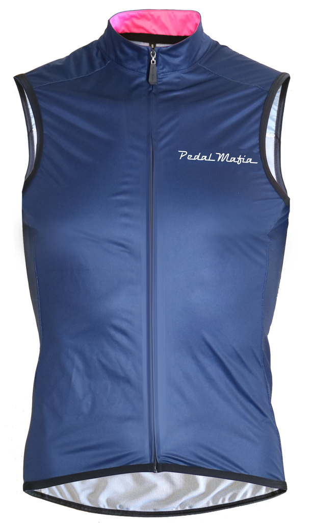 Pedal Mafia Gilet - Navy with White Logo