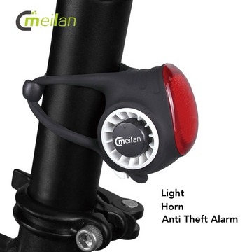 Meilan S3 Wireless Bike Horn & Anti Theft Rear Bike Light - Black - SpinWarriors