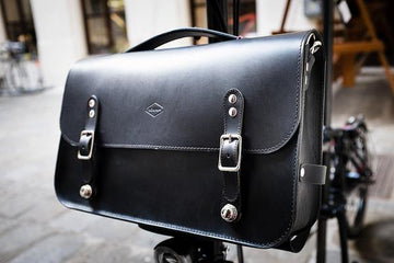 Souma Brompton Leather Briefcase - Black - SpinWarriors
