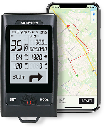 Shanren Discovery Pro Smart GPS Bike Computer with Head Light - SpinWarriors