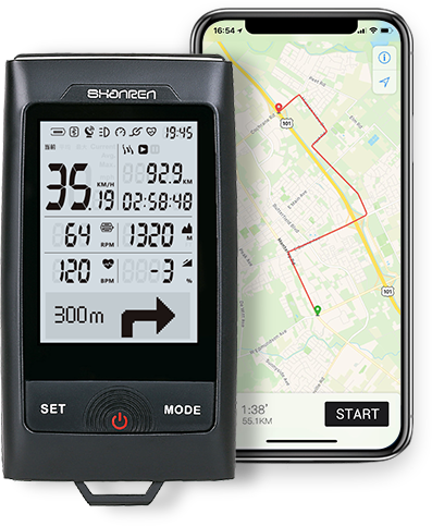 Shanren Discovery Pro Smart GPS Bike Computer with Head Light