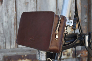 Souma Front Brompton Leather Carrier Pouch - Brown - SpinWarriors
