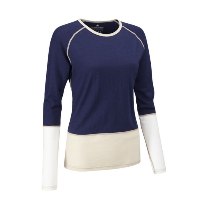 Chapeau! Merino Woman Base Layer - Blue/Oatmeal/White