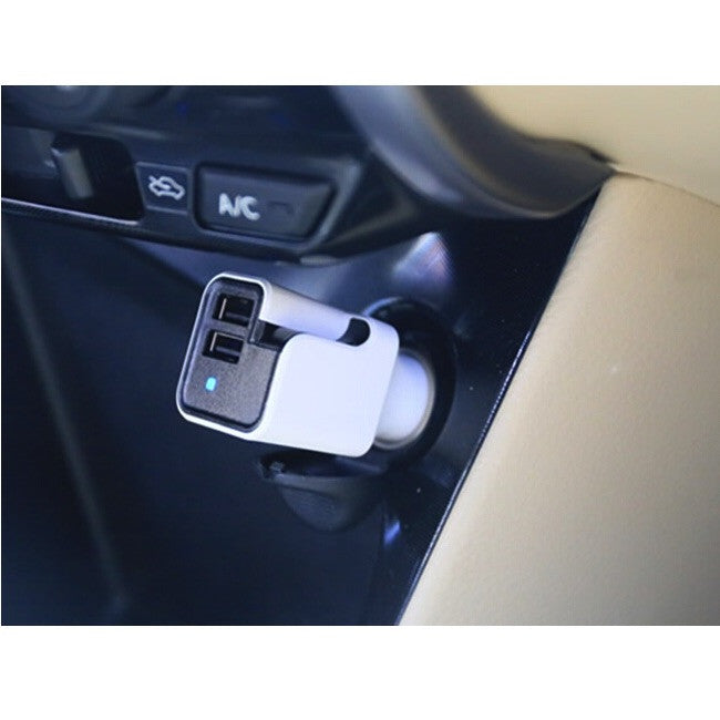 Schatzii AIR Ionic Car Air Purifier + Dual USB Car Charger - White