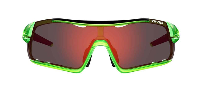 Tifosi Davos Crystal Neon Green Sunglasses - Clarion Red, AC Red & Clear Lenses