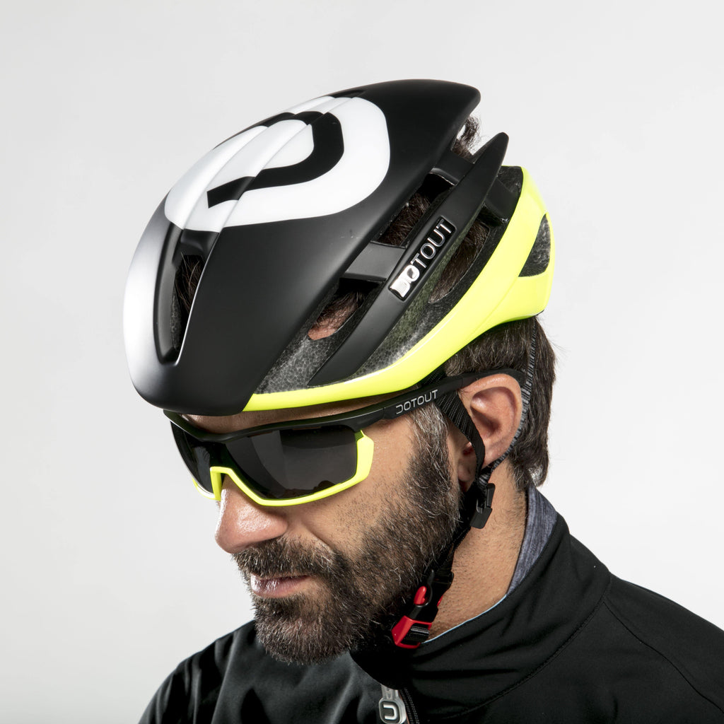 Dotout Kabrio HT Helmet - Shiny Yellow Fluo/Matt Black