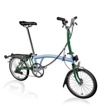 Brompton M6R - Cloud Blue/Racing Green - SpinWarriors