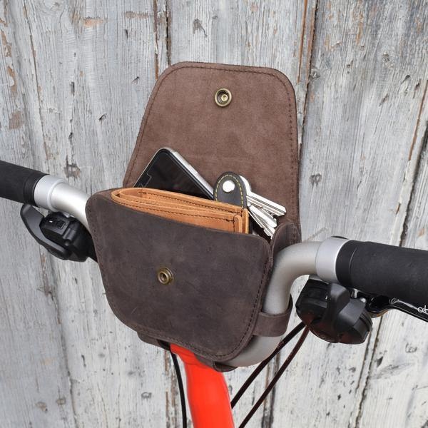 Souma Brompton 2017+ Leather Handlebar Bag - Dark Brown - SpinWarriors