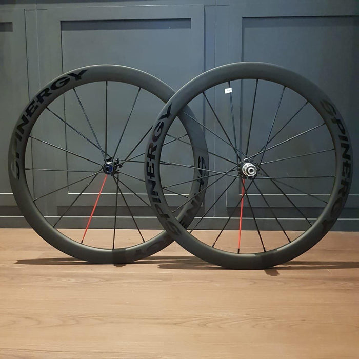 Spinergy Stealth FCC 4.7 Disc Carbon Clincher Wheelset - 1 Red Spoke