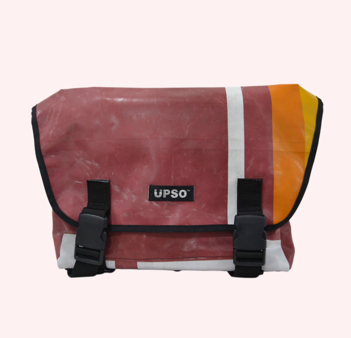 UPSO Brompton Ferrybridge Folder Bag - Vertical Stripe Maroon/White/Orange/Yellow