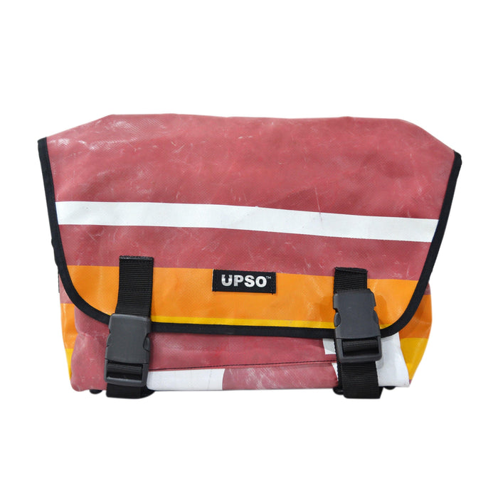 UPSO Brompton Ferrybridge Folder Bag - Horizontal Stripe Maroon/White/Orange
