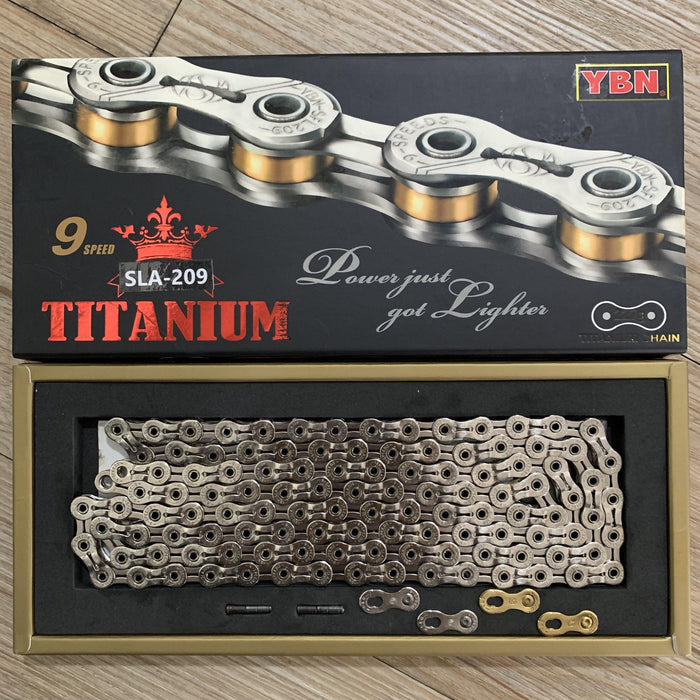Yaban SLA209 Titanium Silver/Gold 9 Speed Chain
