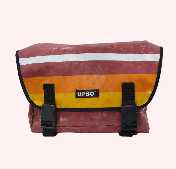 UPSO Brompton Ferrybridge Folder Bag - Horizontal Stripe Maroon/White/Orange/Yellow