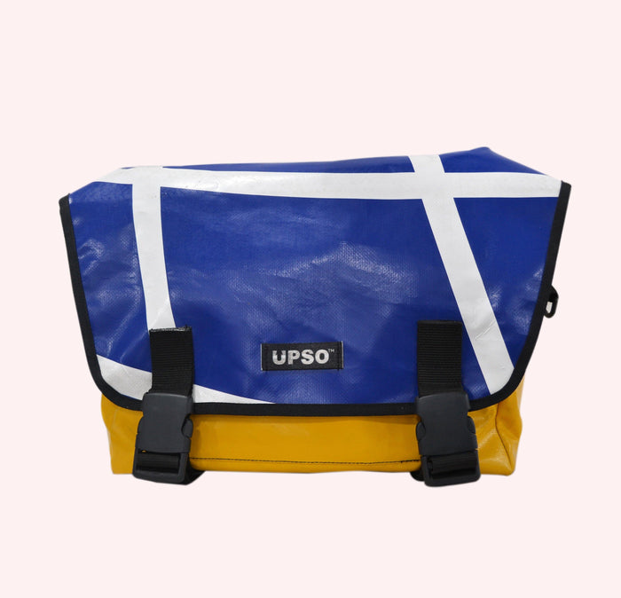 UPSO Brompton Ferrybridge Folder Bag - Blue/White/Yellow