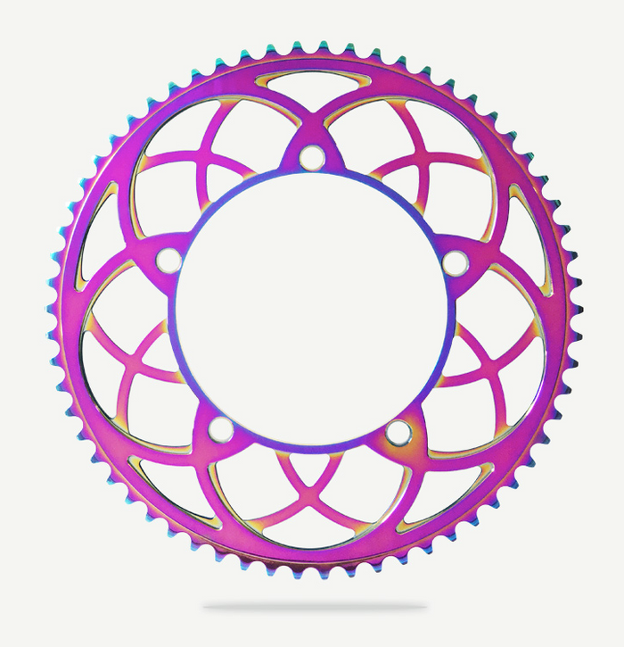 Bespoke Rose Window BCD130 Chainring - Titanium Oil Slick