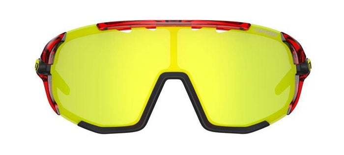 Tifosi Sledge Crystal Red Sunglasses - Clarion Yellow, AC Red & Clear Lenses