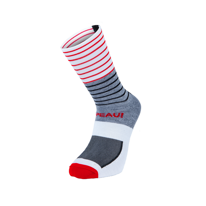 Chapeau! Lightweight Tall Stripe Sock - Grey/White/Red