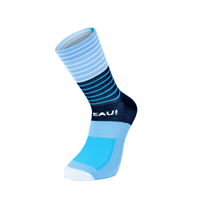 Chapeau! Lightweight Stripe Tall Sock - Indigo/Sky Blue