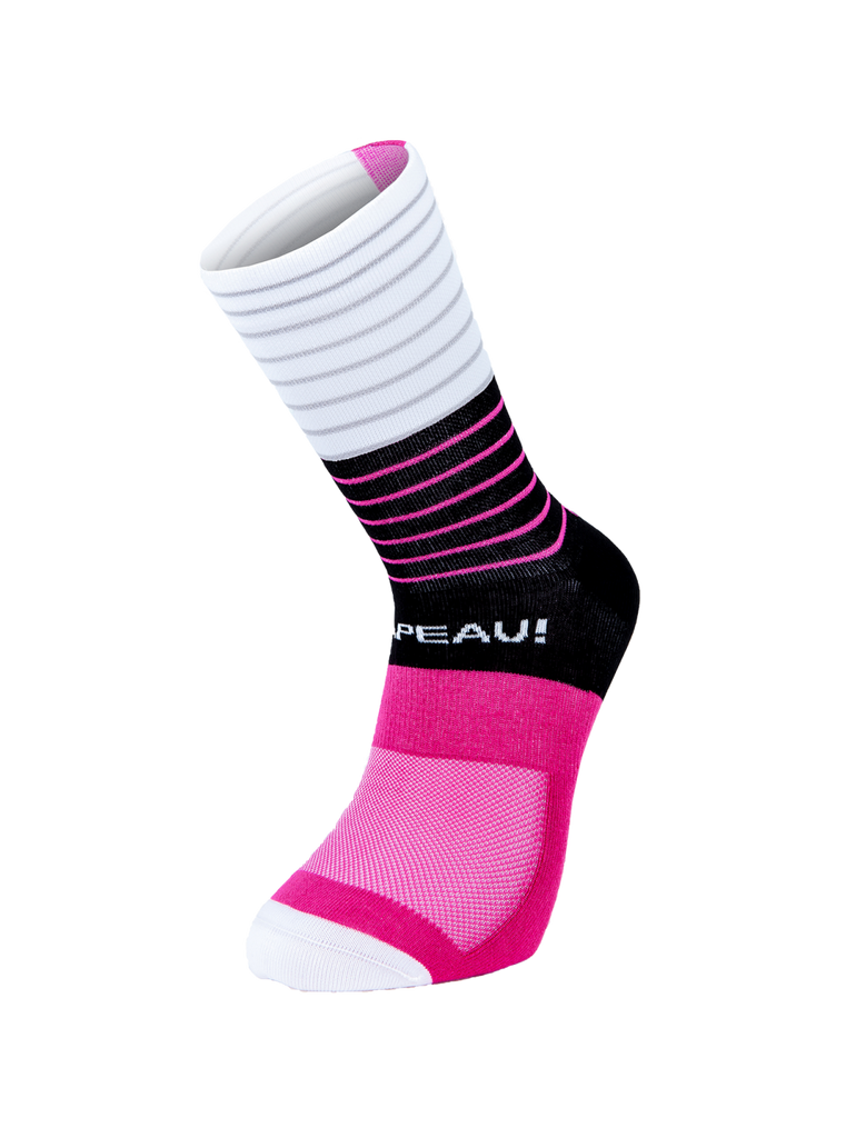 Chapeau! Lightweight Tall Stripe Sock - Black/Cerise