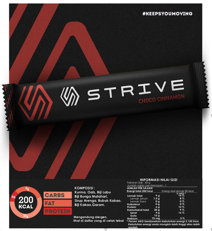 Strive Energy Bar - Choco Cinnamon (6pcs/box)