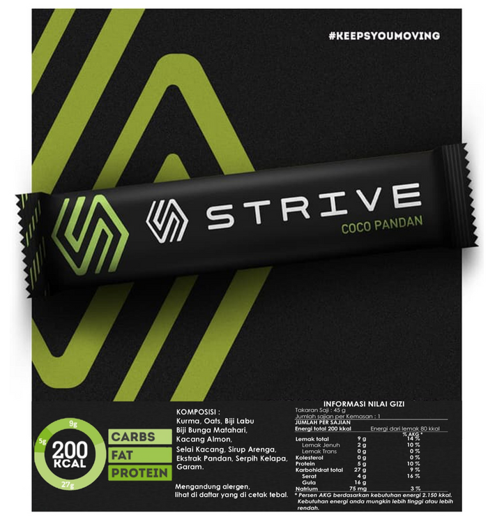 Strive Energy Bar - Coco Pandan (6pcs/box)