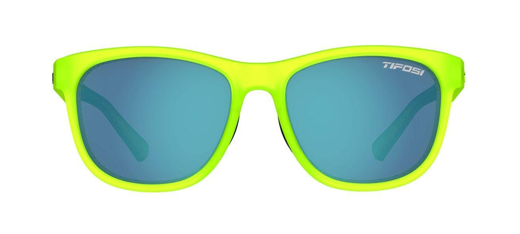 Tifosi Swank Satin Electric Green Sunglasses - Smoke Bright Blue Lens