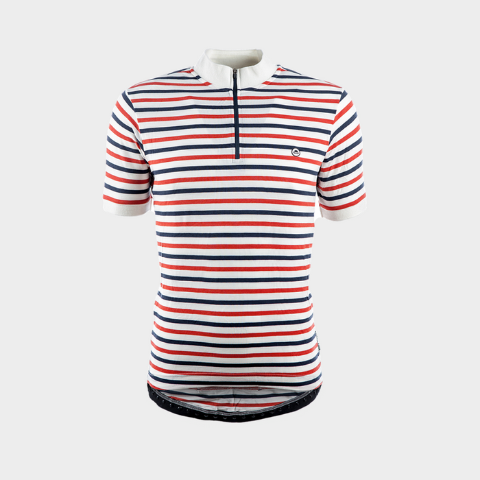 Chapeau! Cafe Thin Stripe Jersey - Burnt Orange/O White