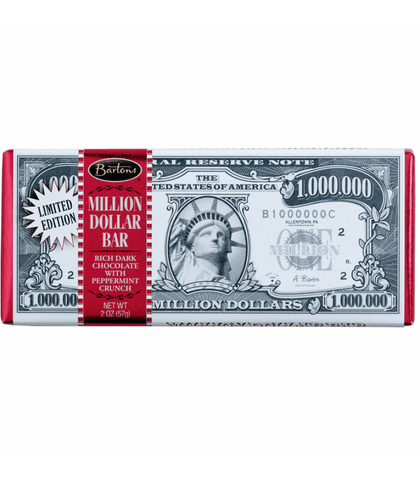 Bartons Million Dollar Dark Chocolate with Peppermint Crunch - Plus Candy