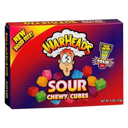 Warheads Sour Chewy Cubes Theater Box