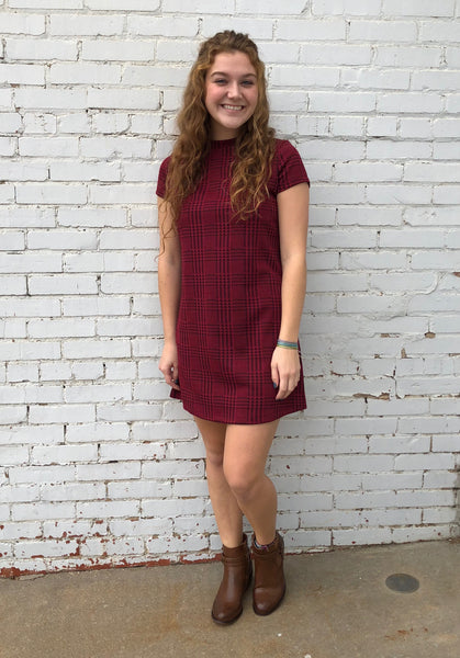 Red Check short dress