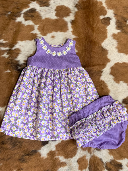 Purple Floral Dress- 2 Piece