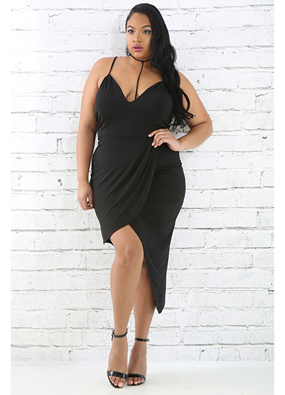 Plus Size Amira Asymmetric Hem Cocktail Dress