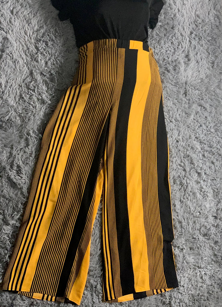 Striped Wide Leg Pants - Size 2X