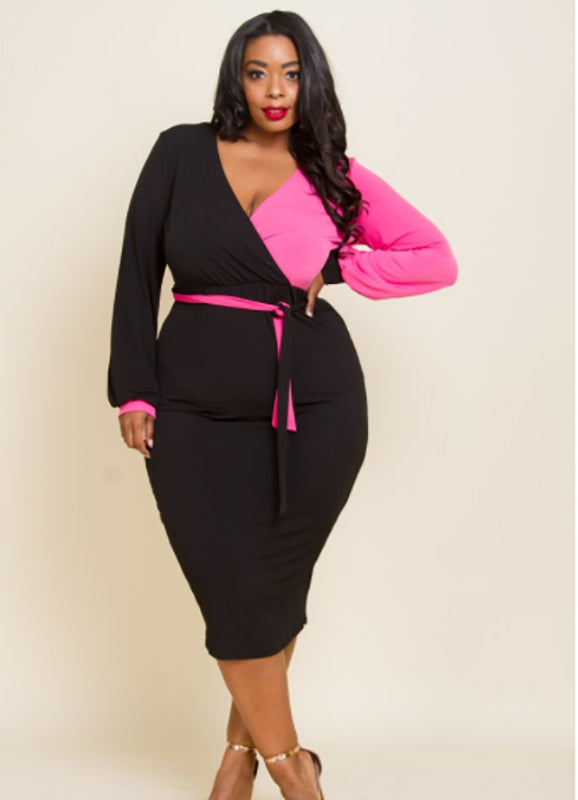Plus Size two tone wrap dress