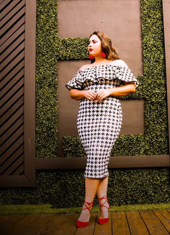 Plus Size Angelica Houndstooth Dress
