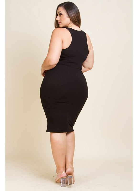 Plus Size Scoop Neck Fitted Midi Dress
