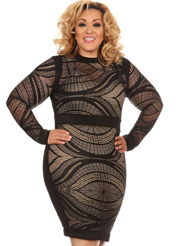 Plus Size crew neck black with lace frontal dress